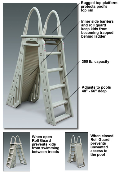 pool ladders NE1162 ROLL GUARD A-FRAME SAFETY LADDER