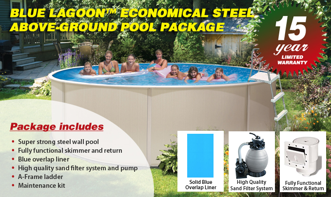 Blue lagoon pool packages above ground pools for Above ground pool deals